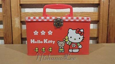 Vintage 1998 Sanrio Red Hello Kitty Tin Metal Mini-Lunch Box Carrying Case Japan