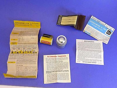 Kodachrome II Film, metal canister instructions use for stereo, vintage