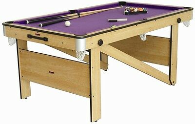 BCE RILEY CP-6AG Rolling Lay flat Folding 5' Pool Table balls cues & accessories