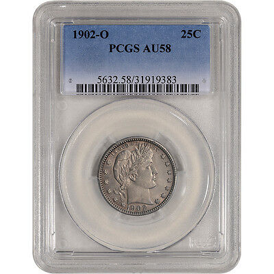 1902-O US Barber Silver Quarter 25C - PCGS AU58 - Tough Date