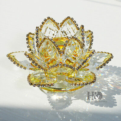 Sparkle Gold Crystal Lotus Flower Feng Shui Home Decor with Gift Box, 3.5-Inch