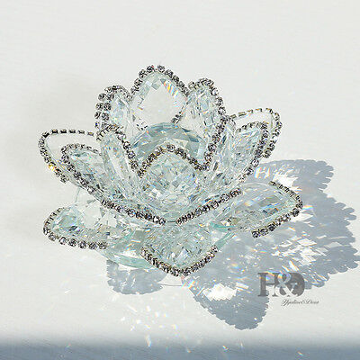 Sparkle Clear Crystal Lotus Flower Feng Shui Home Decor with Gift Box, 3.5-Inch