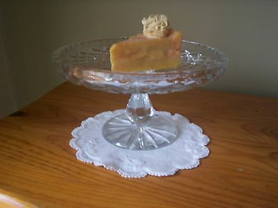Vintage Diamond Cut Bohemian Crystal Pedestal Cake Stand~Superb