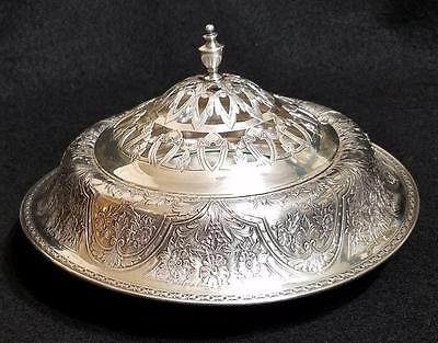 Unusual Antique Wilcox Silverplate Rolled Covered Pierced Serving Bowl Dish