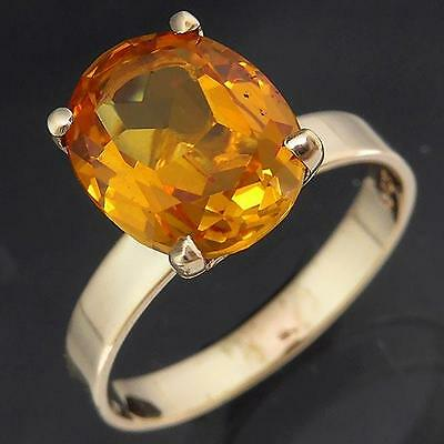 Vintage 1970's NOS 2.5ct Oval Yellow SAPPHIRE 9k Solid GOLD SOLITAIRE RING Sz M