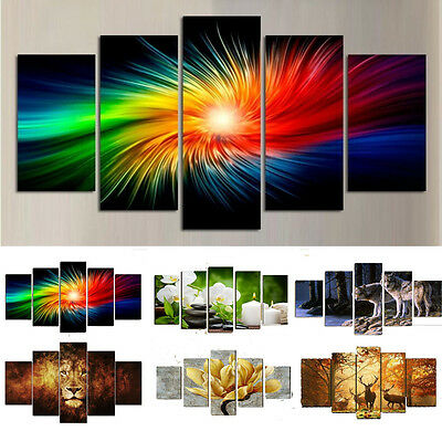 5PCS HD Canvas Print Home Decor Wall Art Animal Design Painting Picture Unframed