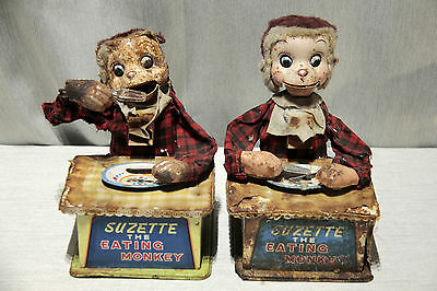 Lot of 2 LineMar SUZETTE The EATING MONKEY animated Battery Tin Toys Japan