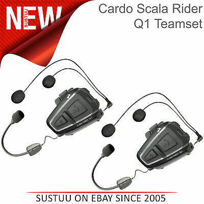 Cardo Scala Q1 Teamset Motorcycle Bluetooth Intercom Headset GPS Rider-Passenger