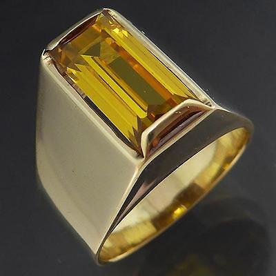 Polished High set 3ct YELLOW SAPPHIRE 9k Solid GOLD SOLITAIRE COCKTAIL RING Sz N