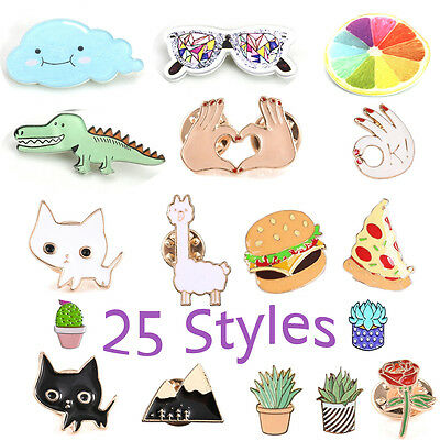 Animal Plant Fruit Gesture Cartoon Cute Brooch Pin Collar Cartoon Enamel Badge