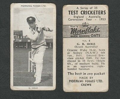 3187)    South Australia - #4  G.b.hole - Test Cricketers 1953 By Mornflake Oats