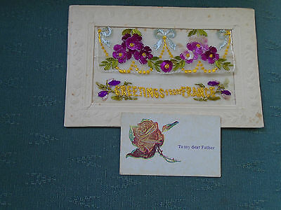 Ww1 Vintage Greetings From France + Insert Card To My Dear Father Silk Postcard
