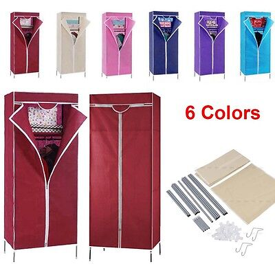 Single Fabric Canvas Wardrobe Cupboard Hanging Clothes Rail Storage Breathable