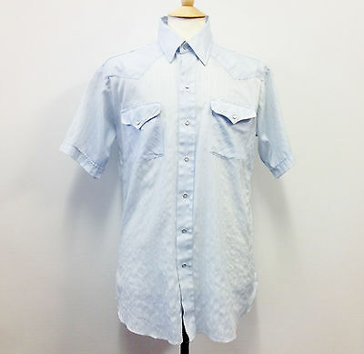 Vintage Blue Western Short Sleeve Shirt Retro Pointed Collar