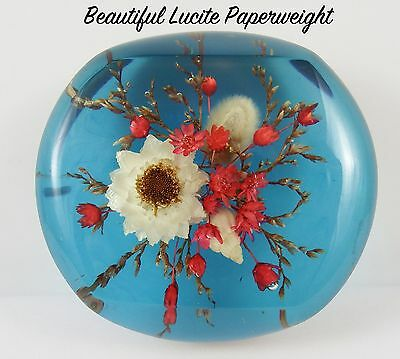 Vintage Flowers and Shell Encased Lucite Paperweight