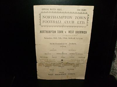 Rare---1943/1944  War Cup North--Northampton Town  V.  West Bromwich Albion.