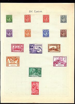 Stamps ~  ST. LUCIA Including HIGH VALUES ~ On Album Page UNSORTED Unchecked