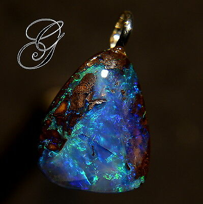Gem Blue/Green Boulder Opal Sterling Silver Pendant  * 6.37 ct**Opals by Grace**