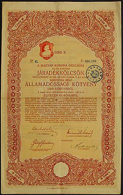 Ungarn Kingdom of Hungary State bond 1000 Kronen 1917 uncancelled coupons