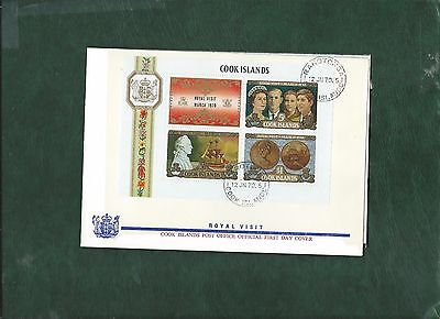 Cook Islands 1970 Royal Visit minisheet on First Day Cover FDC