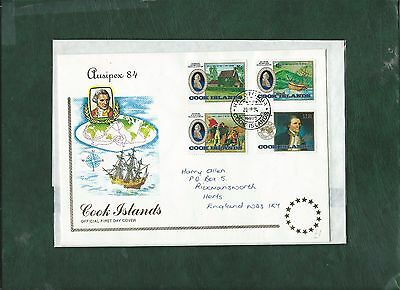 Cook Islands 1984 Ausipex stamp exhibition set on First Day Cover FDC