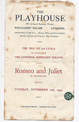 Wwii , Romeo And Juliet, A Program, 2/11/43, Old Vic & C.e.m.a, With An Air Raid