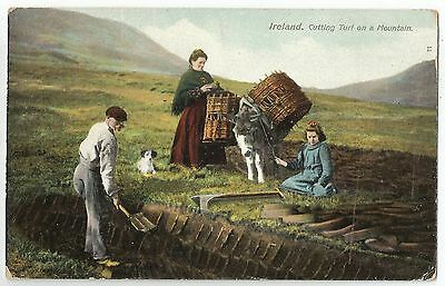 o  irish life postcard ireland turf cuttin donkey