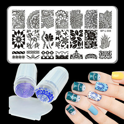 3pcs/set Arabesque Nail Stamping Plate & Silicone Clear Stamper Tool Born Pretty