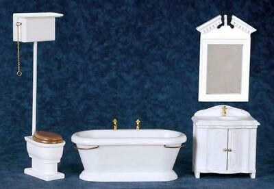 Dolls House Traditional Victorian White Bathroom Suite Miniature Furniture Set