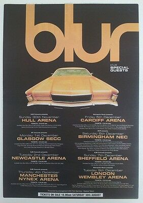 BLUR 1997 Tour Dates (car) UK Poster size Press ADVERT 16x12 inches