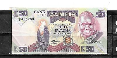 ZAMBIA #28a 1986 OLD XF USED 50 KWACHA BANKNOTE NOTE BILL PAPER MONEY