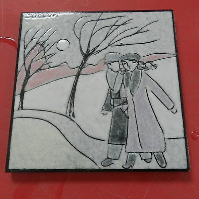 Listed Canadian Artist Charles Suscan Signed Art Pottery Tile