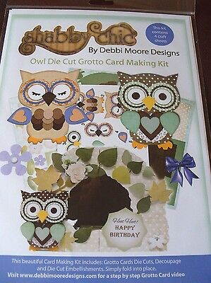 Debbi Moore Designs ~ Shabby Chic Owls Die Cut Grotto Card Making Kit ~  NEW