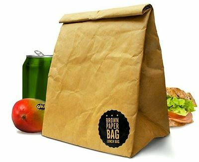 Luckies Brown Paper Lunch Bag Retro Style Re-usable Lunch Box