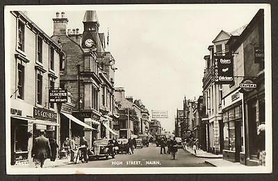 REAL PHOTO POSTCARD HIGH STREET NAIRN SHOP FRONT INVERNESS-SHIRE SCOTLAND c1955