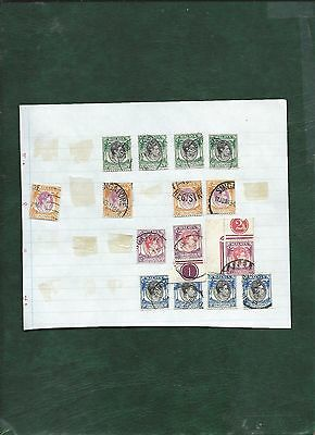 Malaya Singapore George VI 15 old used stamps on album page 4 different