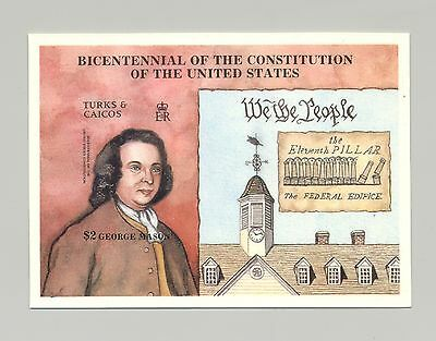 Turks & Caicos 1987 U.S. Constitution Bicentennial 1v s/s imperf chromalin proof