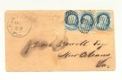 USA #9, 3 stamps on 10/29/50 Pensacola, FL cover to New Orleans