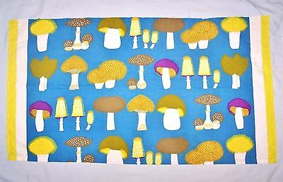 Vintage Cotton Piece of Material, Mushrooms/Toadstools Print, 1960s