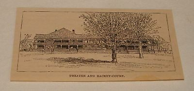 1884 small magazine engraving ~ THEATRE & RACKET-COURT Newport RI