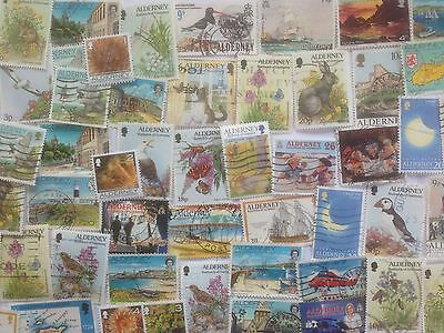 50 Different Alderney Stamp Collection