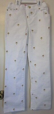 Girls Lilly Pulitzer Jubilee Darn Cute Denim White & Gold Jeans~Sz 10~GC