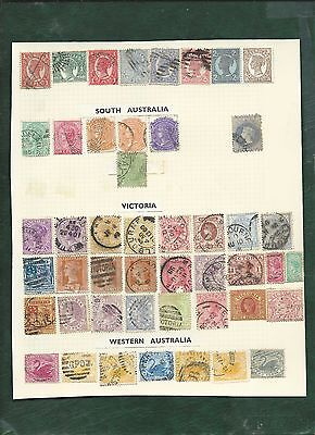 Australian States Queensland South and Western Australia Victoria stamps on page