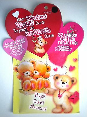 PKG. OF 32 BEAR VALENTINES CARDS WITH STICKERS ~ Includes 2 Teacher Cards