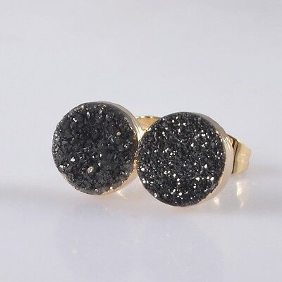 8mm Round Black Agate Titanium Druzy Stud Earrings Gold Plated H95111