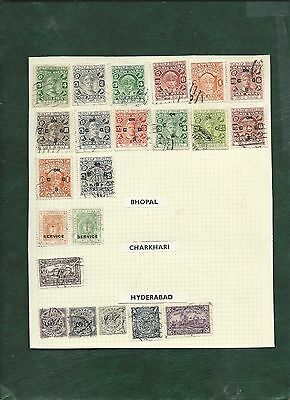 India and States nice lot of MH and used old stamps on album pages