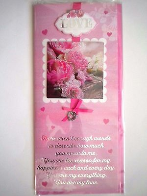 """Luxury Embellished 3D """"love"""" Heart & Roses Valentines Day Greeting Card"""