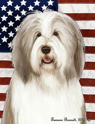 Large Indoor/Outdoor Patriotic II Flag - Fawn & White Bearded Collie 32483