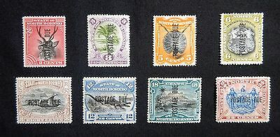 "North Borneo 1895-97 SGD1-D11, ""Postage Due"" Set of 8 to 24c, Mint/MH"
