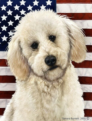 Large Indoor/Outdoor Patriotic II Flag - White Labradoodle 32285